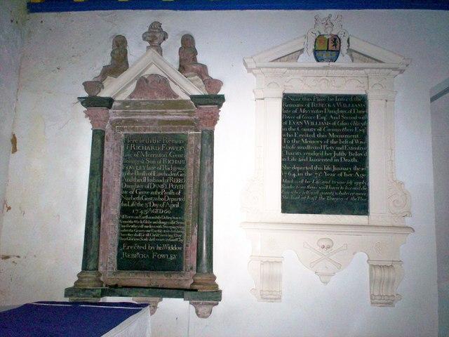 Amroth Church - Memorials near Altar