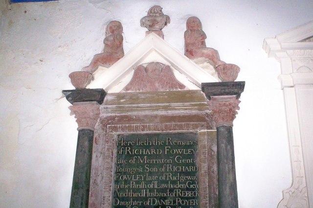 Amroth Church - Memorials near Altar - detail