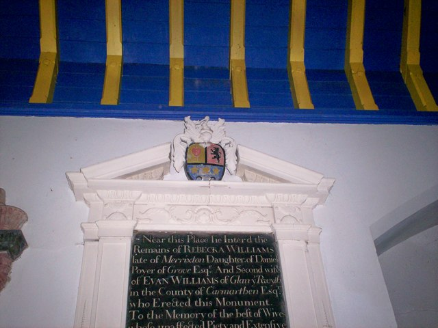 Amroth Church - Memorials near Altar - detail