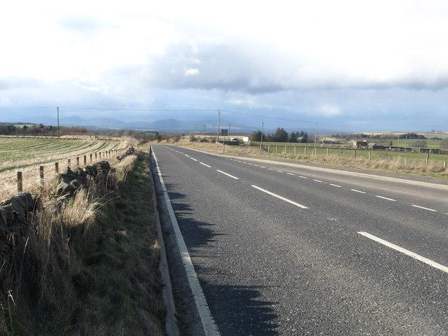 The A7 heading towards Edinburgh