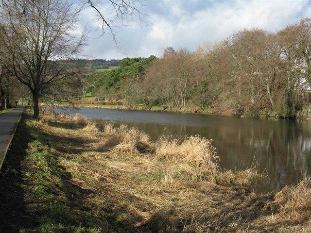 Looking upstream along the Tweed at Peebles