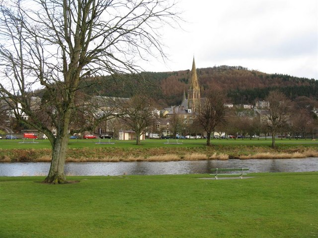 Ven Law and Peebles from across the Tweed