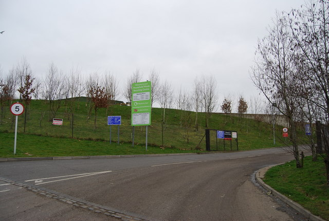 Entrance to household waste recycling centre, North Farm Estate