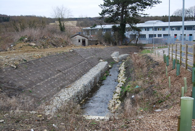 Gabion boxes on an unnamed stream, North Farm Estate