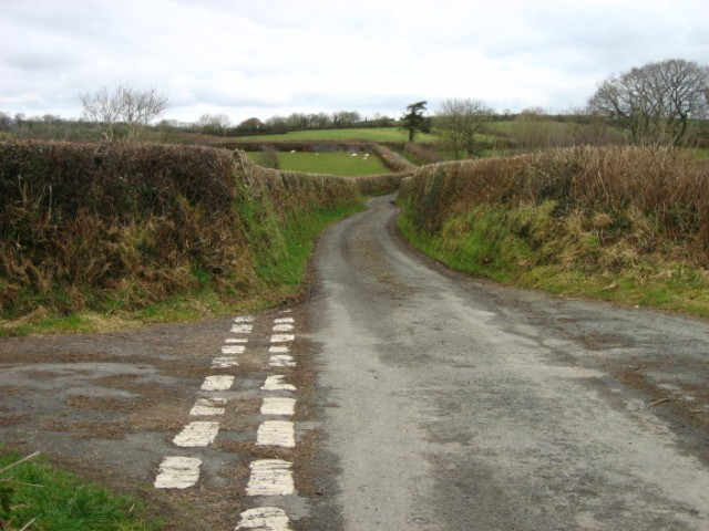 Back road from Llanfallteg to Login