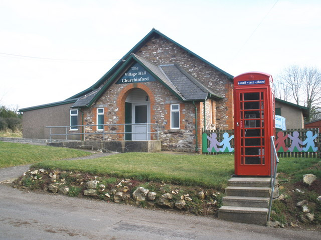 Telephone box and village hall, Churchinford