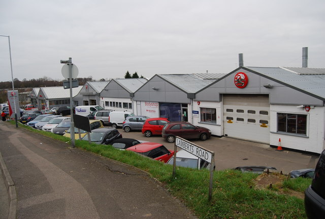 Vauxhall car dealership & garage, Lamberts Rd, North Farm Estate
