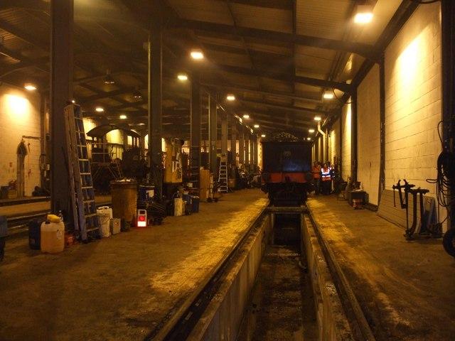 Inside Weybourne Engine sheds.