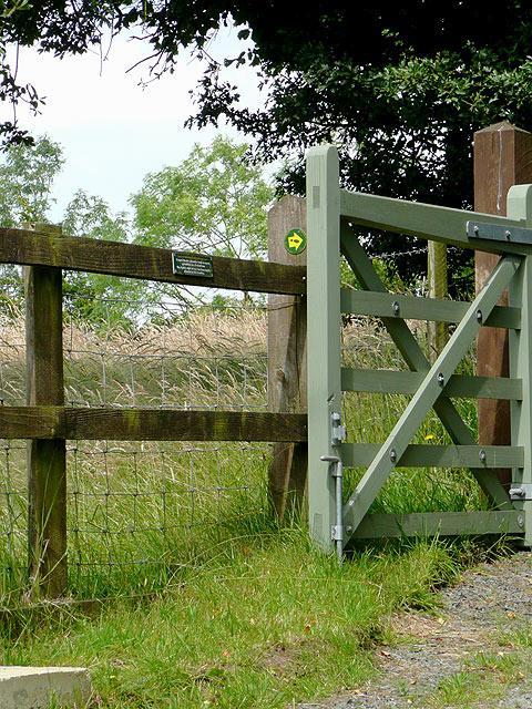 Footpath markers at Brynamlwg near Tregaron, Ceredigion