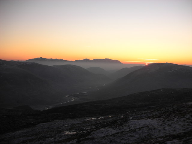 Sunset over Glen Roy and the Nevis Range