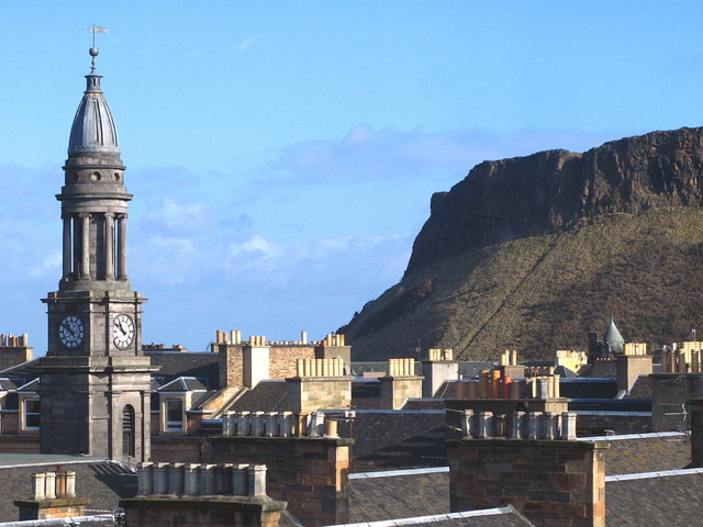 Edinburgh's Southside rooftops, Queen's Hall and the crags