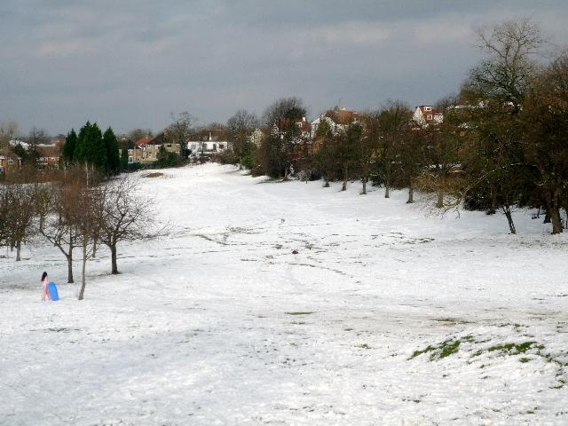 Brent Valley golf course - looking down fairway one (snow scene)