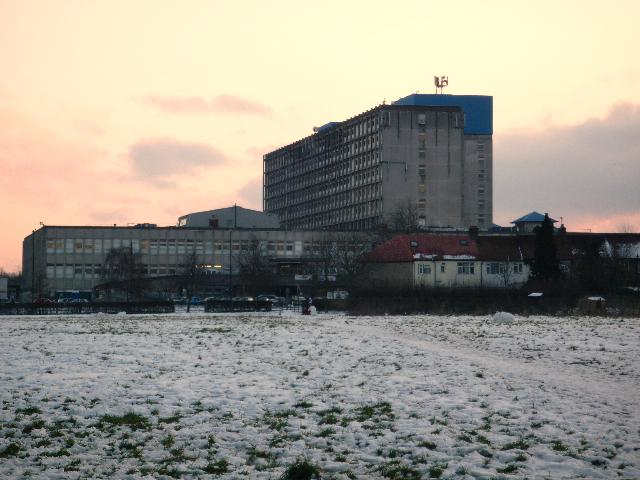 Ealing Hospital from Brent Meadow (snow scene)