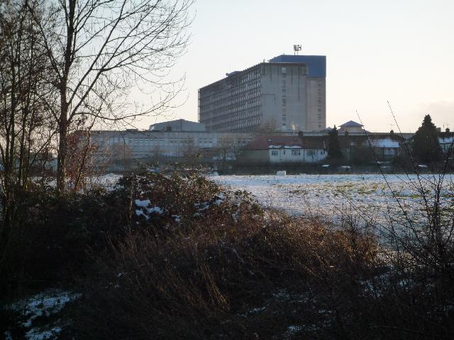 Ealing Hospital from the River Brent
