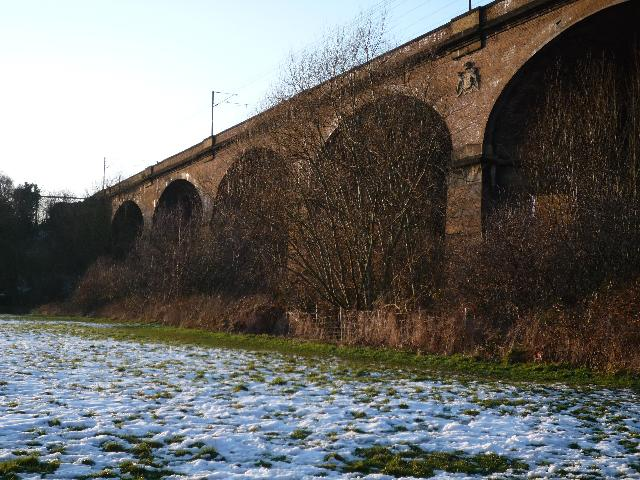 The Wharncliffe Viaduct from Brent Meadow (snow scene)