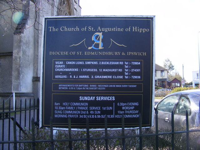 Sign of the Church of St.Augustine of Hippo, Ipswich