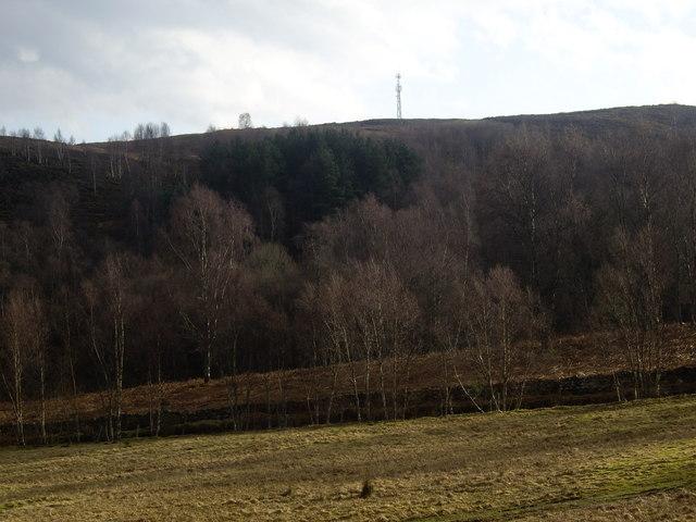 Communications mast on Sluie Hill