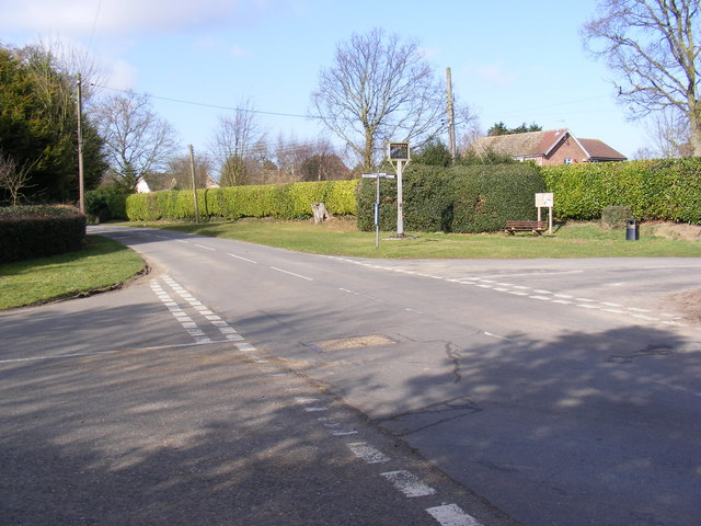 Bucklesham Road, Foxhall Crossroads & Village sign
