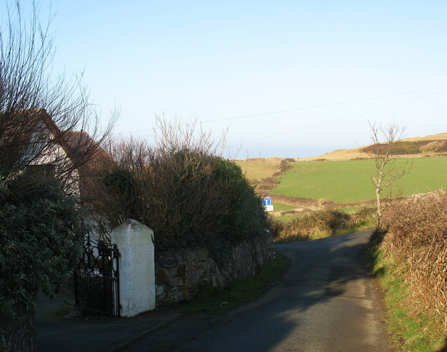 Road junction north of the old vicarage at Llanbadrig