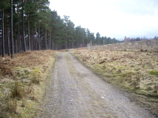 Track from Craiglash over the col of Sluie Hill