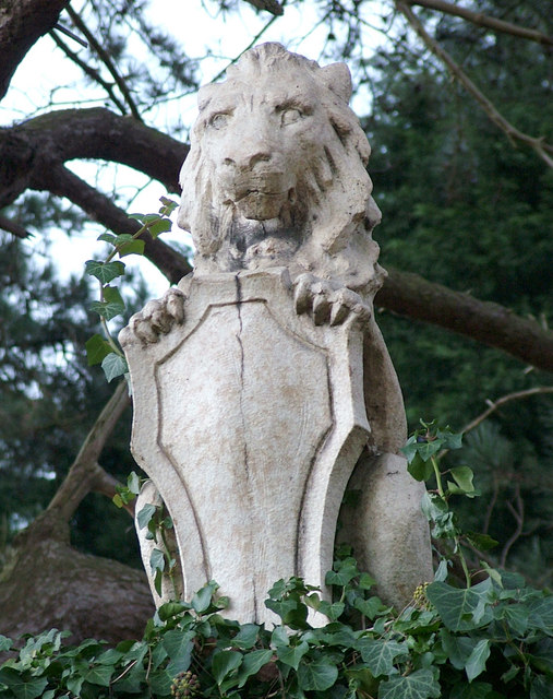 Lion and shield on gatepost, Loudham Hall