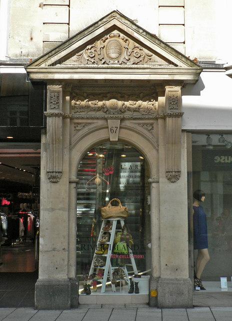 Classically designed doorway, Queen Street, Cardiff.