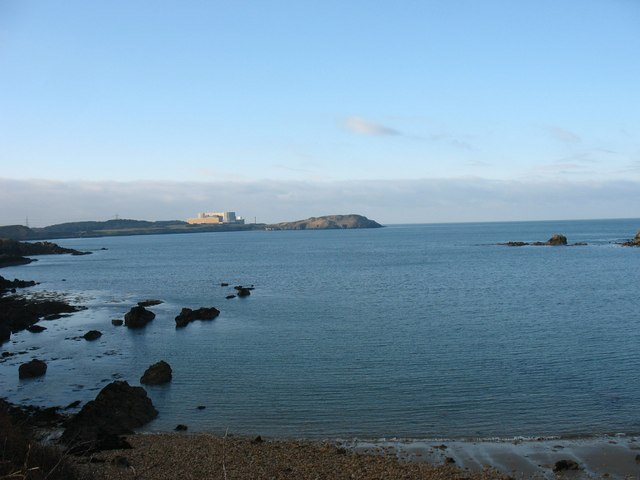 Porth Padrig and Cemaes Bay with Wylfa NP Station in the background