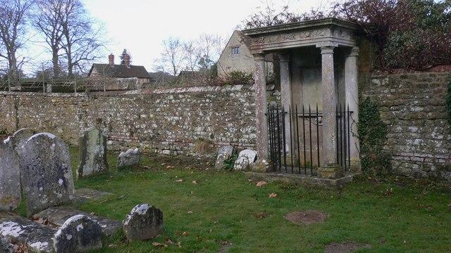Grim edifice in churchyard