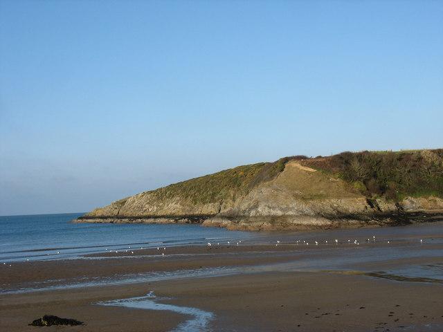 View across Traeth Mawr beach  towards Trwyn-y-Parc point
