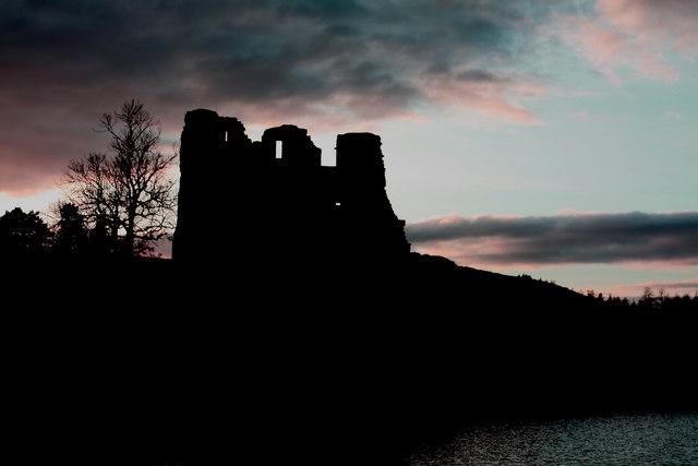 Morton Castle by dusk