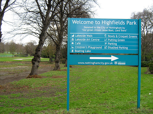 Sign for Highfields Park