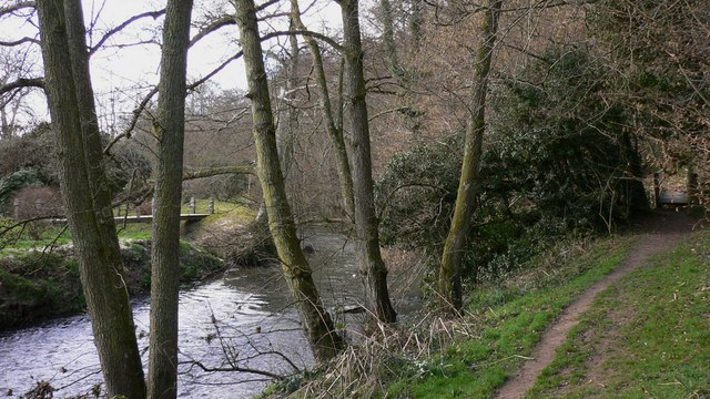 Two footbridges alongside the River Rother