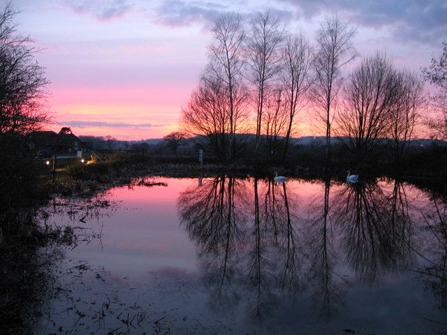 Sunset over pond and Nutfield Marsh