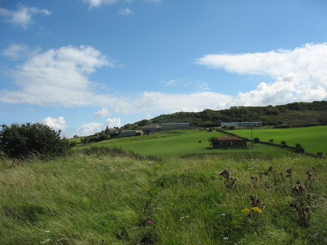 View across farmland towards Bwrdd Arthur and Tan Dinas Farm