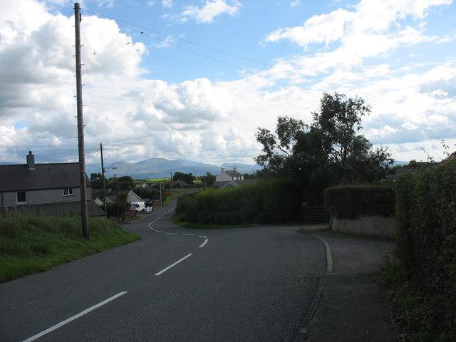 The twisting main street of Llanddona