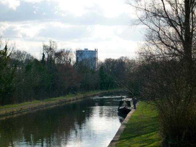 Southall gasometer from the canal bridge close to the Willowtree Marina, Yeading
