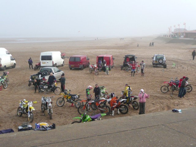 Competitors at a motor cycle sand race, Mablethorpe