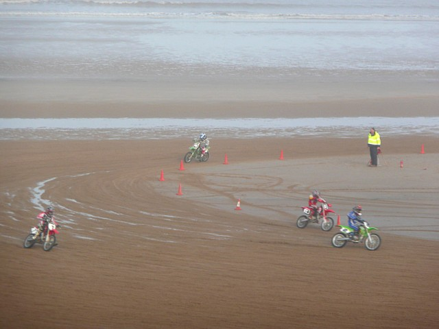 Motorcycle racing on the beach, Mablethorpe