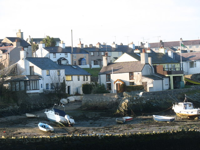 A cluster of houses around Cemaes Harbour