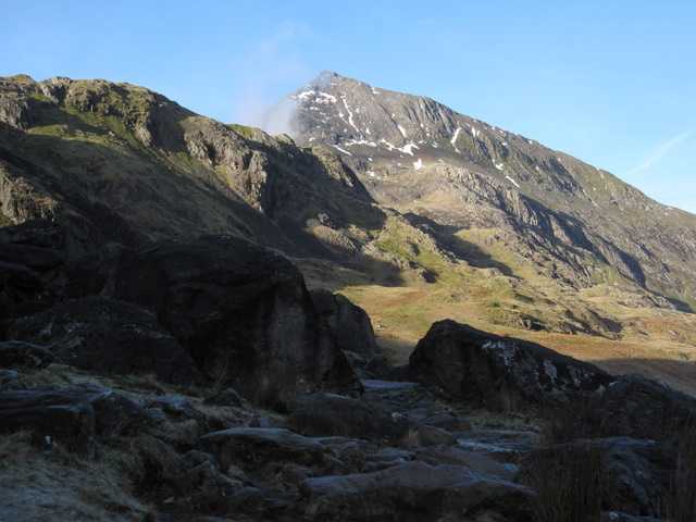 The icy Pyg Track and Crib Goch