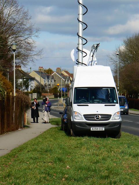 TV crew, A3102, Lyneham