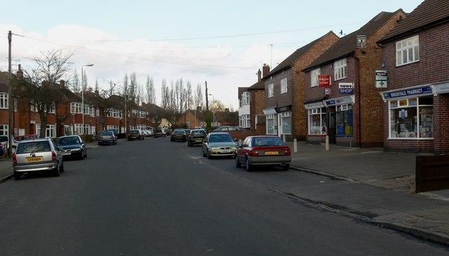 Shops along Meadvale Road in Knighton