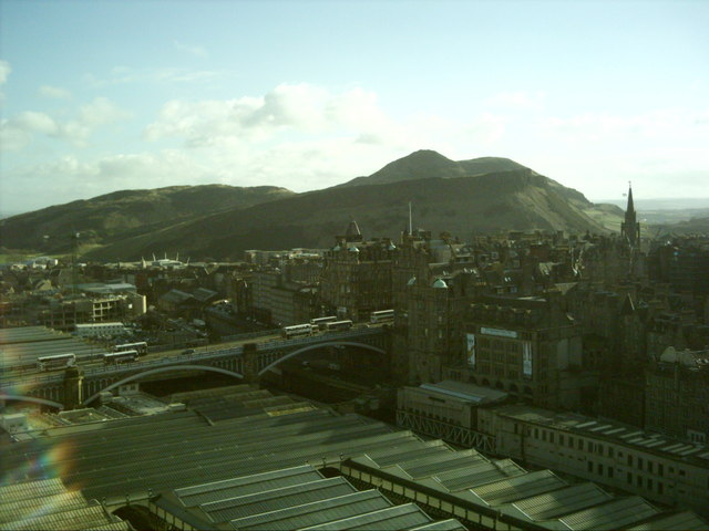 Waverley station with Arthurs seat beyond