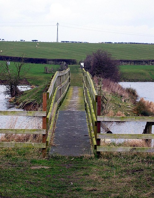 Footbridge  bisecting east and west sections of Hurworth Burn reservoir
