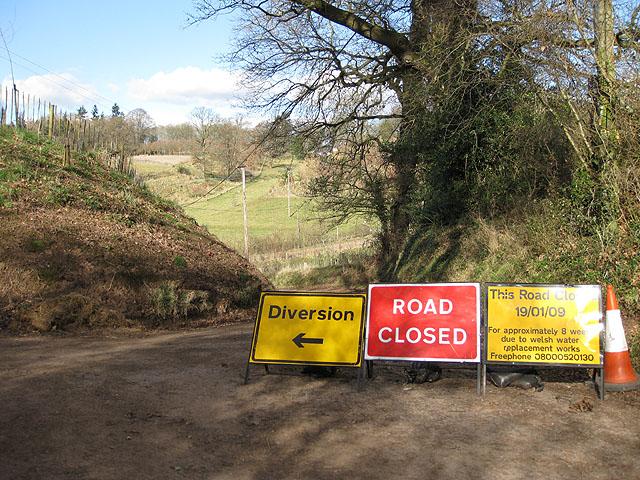 Road closed near Plastre Tump