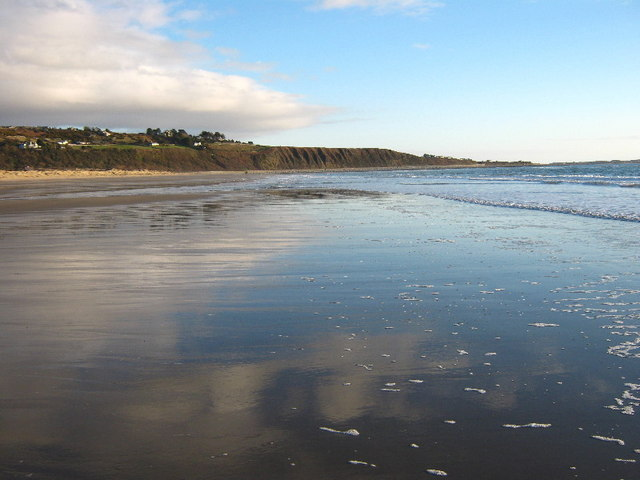 Harlech beach at very low tide