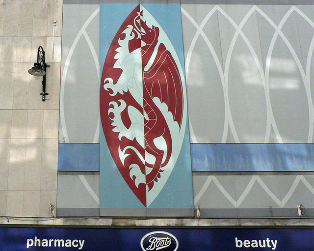 Dragon logo, Boots Chemists, Queen Street, Cardiff.