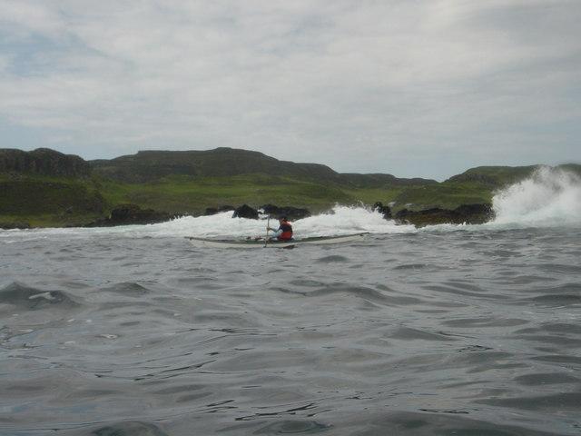 Paddling towards Gometra on south coast of Ulva