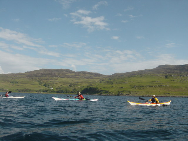 Paddling north from Ulva across Loch Tuath