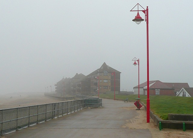 The promenade on a foggy day, Mablethorpe